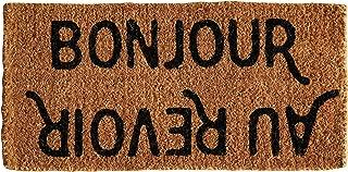 Creative Co-Op Bonjour/Au Revoir Natural Coir Doormat, 32