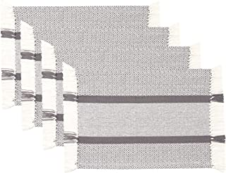Sticky Toffee Cotton Woven Placemat Set with Fringe, Traditional Diamond, 4 Pack Placemats, Gray, 14 in x 19 in