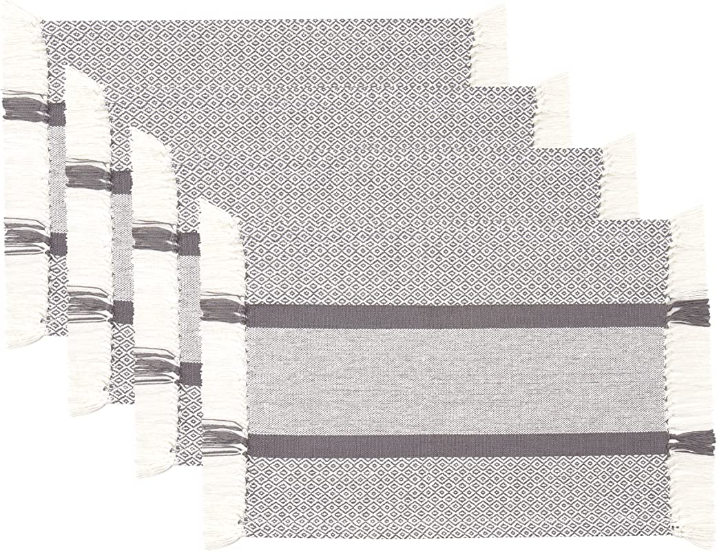 Sticky Toffee Cotton Woven Placemat Set With Fringe Traditional Diamond 4 Pack Placemats Gray 14 In X 19 In