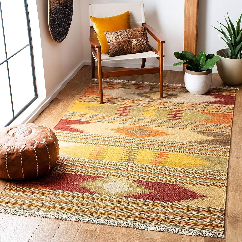 Safavieh Kilim Collection NVK21A Handmade Southwestern Tribal Wool Area  Rug, 21' x 21', Red / Multi