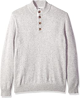 Men's Buttoned Mock Neck Solid 7 Gauge Sweater