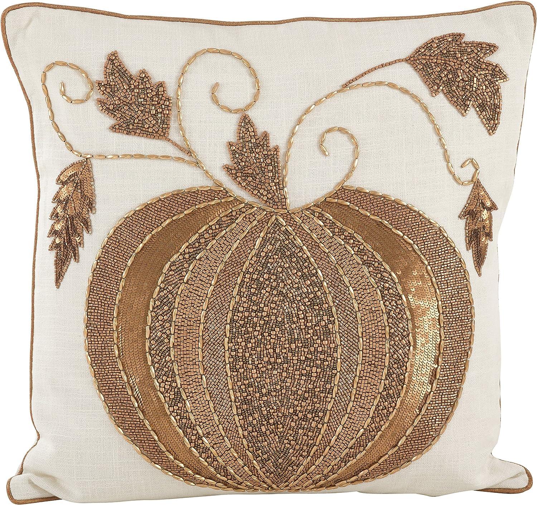 SARO LIFESTYLE Atlanta Large-scale sale Mall Beaded Thanksgiving Pumpkin Cotton Fi Down Design
