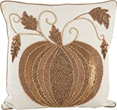 SARO LIFESTYLE Beaded Thanksgiving Pumpkin Design Cotton Down Down Filled Throw Pillow, 18, Ivory