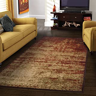 Superior Modern Afton Acid Wash Collection Area Rug, 10mm Pile Height with Jute Backing, Vintage Distressed Design, Anti-Static, Water-Repellent Rugs - Auburn, 2'7