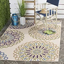 Safavieh Veranda Collection VER092-0514 Indoor/ Outdoor Cream and Green Contemporary Area Rug (4' x 5'7