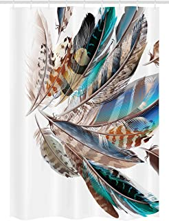 Ambesonne Feathers Stall Shower Curtain, Vaned Types and Natal Contour Flight Bird Feathers and Animal Skin Element Print, Fabric Bathroom Decor Set with Hooks, 54