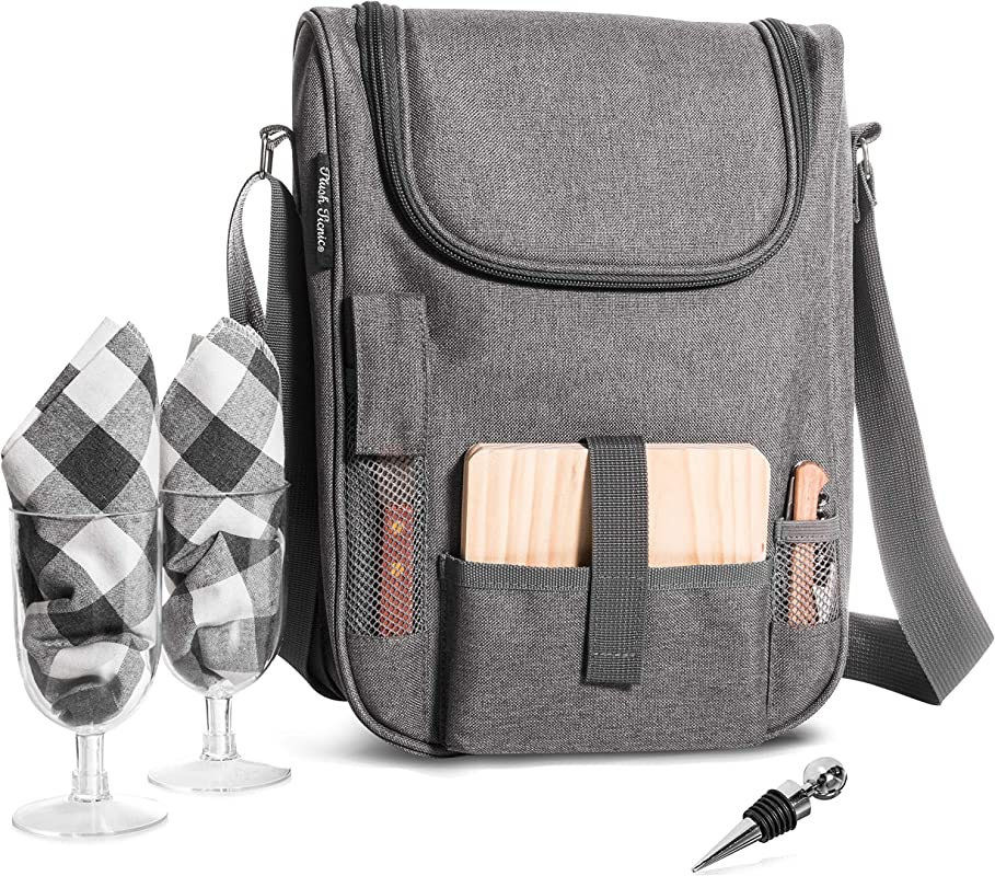 Insulated Travel Wine Tote Bag Portable 2 Bottle Wine And Cheese Waterproof Black Canvas Carrier Bag Set With Picnic Backpack Kit Heather Grey