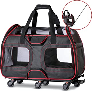 WPS Airline Approved Removable Wheeled Pet Carrier for Small Pets. Upgraded Structural Design for Ultimate Strength, Features Mesh Panels & Plush Mat. Compact and Durable. 19