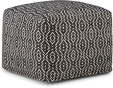 Simpli Home Graham Transitional Square Pouf in Patterned Black, Natural Cotton