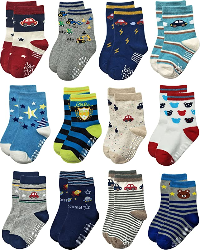 RATIVE RB 71112 Non Skid Anti Slip Crew Socks With Grips For Baby Toddlers Boys