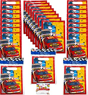 Nascar Party Supplies Birthday Race Car Plastic Favor Treat Bags Bundle of 24