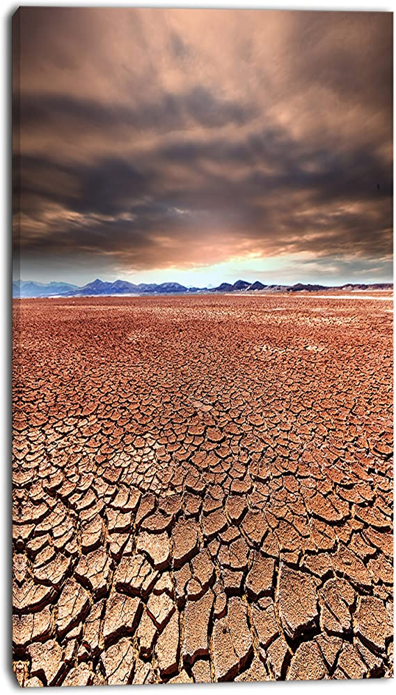 Designart Pt12235 12 20 Drought Land Under Cloudy Sky African Landscape Artwork Canvas 20 H X 12 W X 1 D 1p Posters Prints