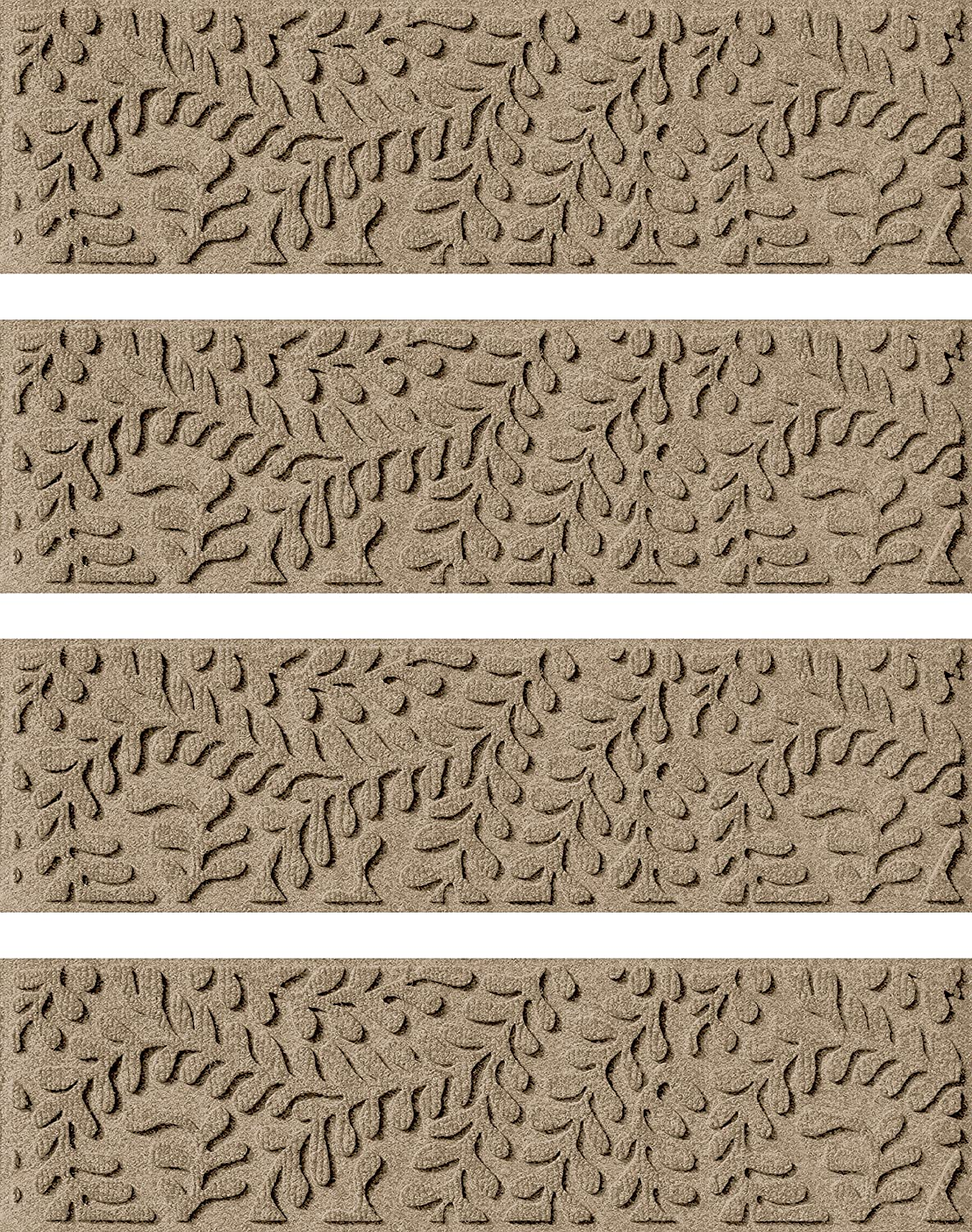 Bungalow Flooring Waterhog Indoor Outdoor Stair Treads, Set of 4, 8-1 2  x 30 , Skid Resistant, Easy to Clean, Catches Water and Debris, Boxwood Collection, Khaki Camel