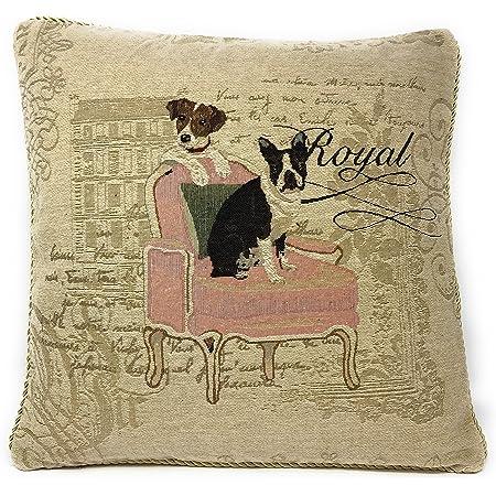 DaDa Bedding Set of Two French Royal Dog Pet Animal Throw Pillow Cushion Cover