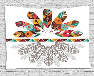 Ambesonne Tribal Tapestry, Colorful Native American Historical Aztec Feathers Boho Kitsch Folk Abstract Design, Wall Hanging for Bedroom Living Room Dorm, 80WX60L Inches, Multicolor