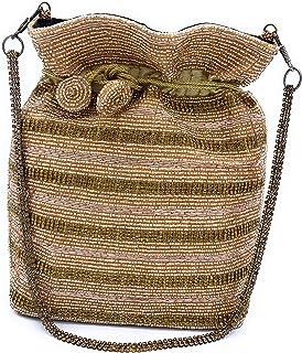 WOMEN'S DESIGNER ELEGANT ROYAL HANDMADE POTLI BAG/HANDBAG/PURSE/CLUTCH BAG ADORA ACI 088 ROSE GOLD