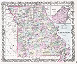 Home Comforts Large Detailed Old Administrative map of Missouri State with Roads, Railroads and Cities - 1855 Vivid Imagery Laminated Poster Print 24 x 36