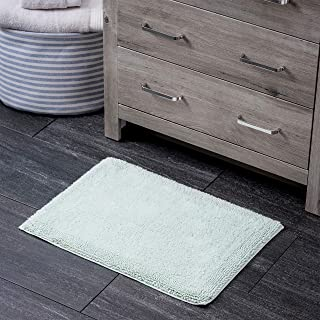 """100% Turkish Cotton Bath Rug with Non Slip Backing 17"""" X 24"""" Seagrass"""