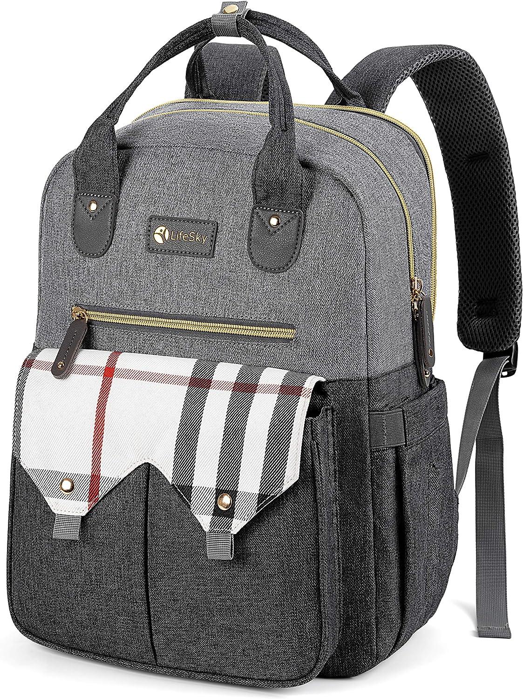 LIFE SKY Diaper Bag Backpack, Large Multi-Functional Baby Bags, Waterproof Travel Nappy Packs, Dark/Light and Plaid