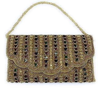 ADORA FASHION INDIAN HANDMADE CLUTCH BAG FOR WOMEN ADORA ACI 150 GOLD WITH MULTI COLOUR STONES