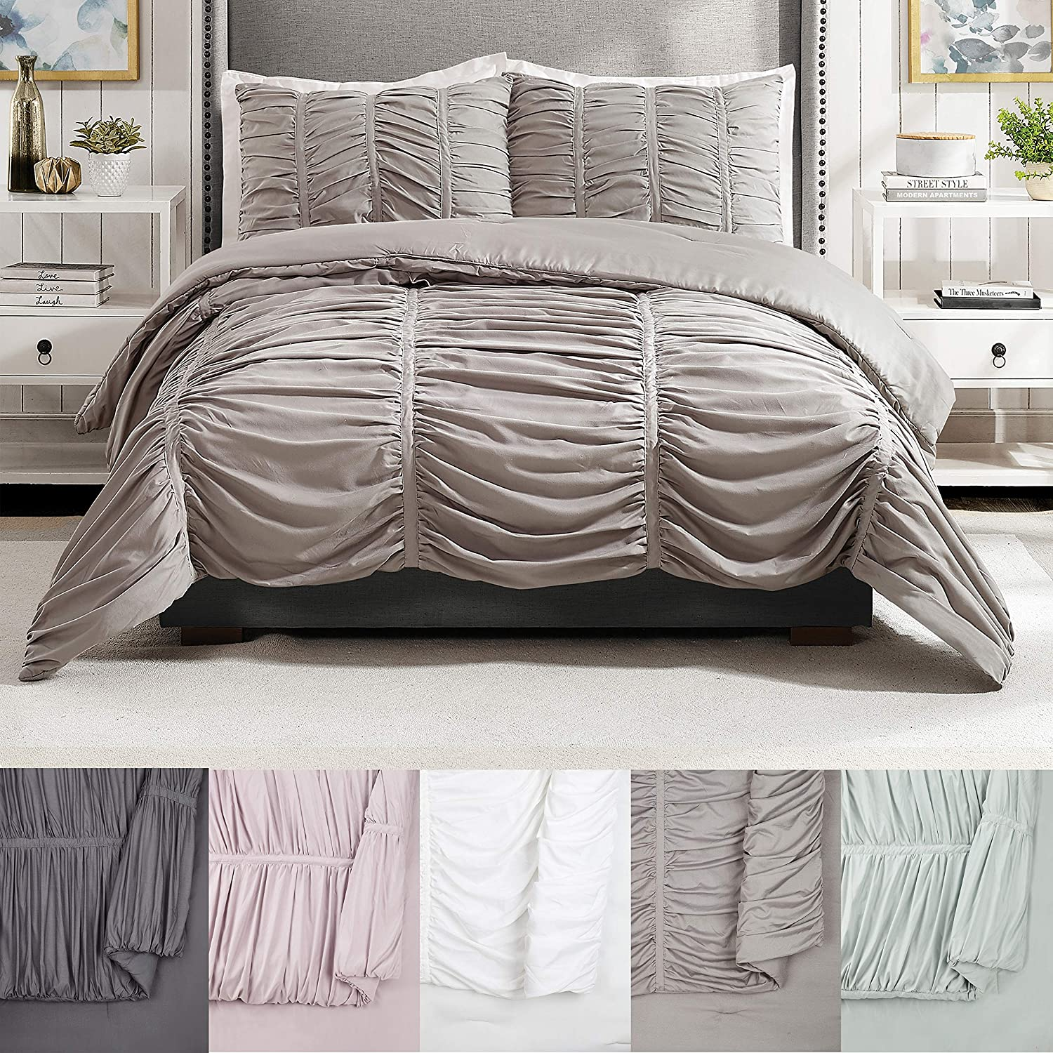 Modern Max 42% OFF Heirloom Emily Texture Light 3-Piece Set Large special price Comforter Gray