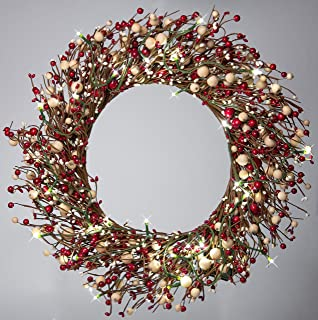 22 Inch Light-Up Christmas Wreath with Red Pip Berries, Battery Operated LED Lights with Timer