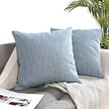 Uhomy Pack of 2 Decorative Cotton Linen Cushion Cases Square Throw Pillow Cover Set for Bedroom Sofa Car, Office, 18x18 inch, 45x45 cm, Light Blue
