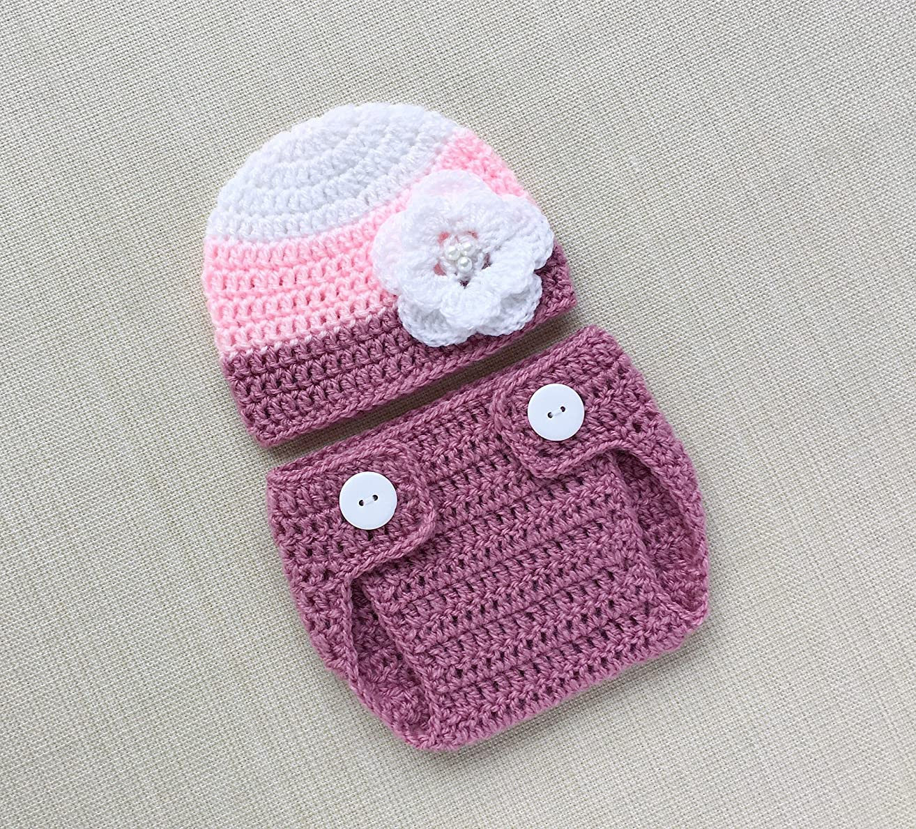 Baby Girl Photo Prop Outfits 0-6 months Crochet Newborn Hat and Bloomer For Infant Photoshoot