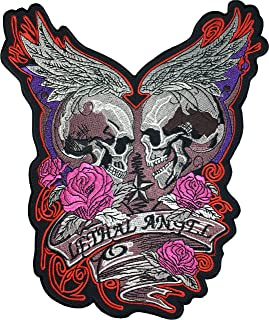 [Large Size] Papapatch Lethal Angel Skull Pink Roses Wings Star Biker Punk Ride Chopper Motorcycle Costume Jacket Vest Back DIY Embroidered Applique Sew Iron on Patch (IRON-LETHAL-ANGEL)