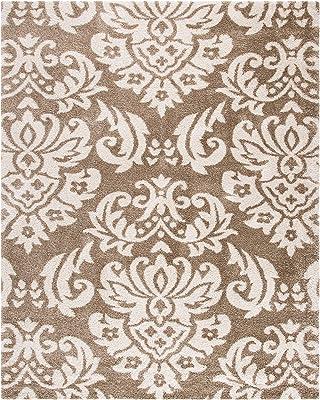 Safavieh Florida Shag Collection SG460-1311 Damask Textured 1.18-inch Thick Area Rug, 8' x 10', Beige/Cream