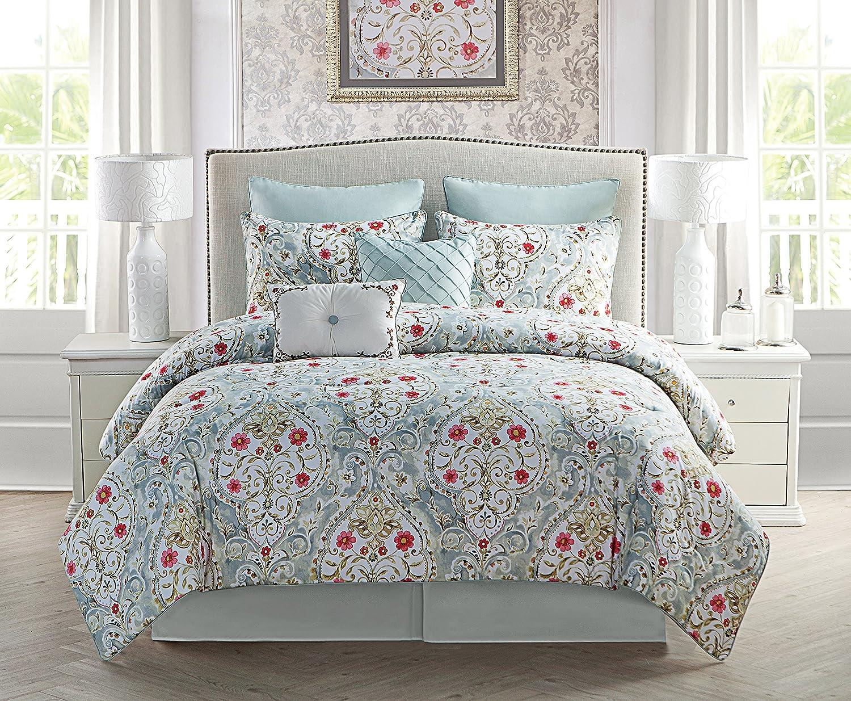 VCNY 未使用 Home Evangeline Floral Damask ファクトリーアウトレット Comforter King 8-Piece Set