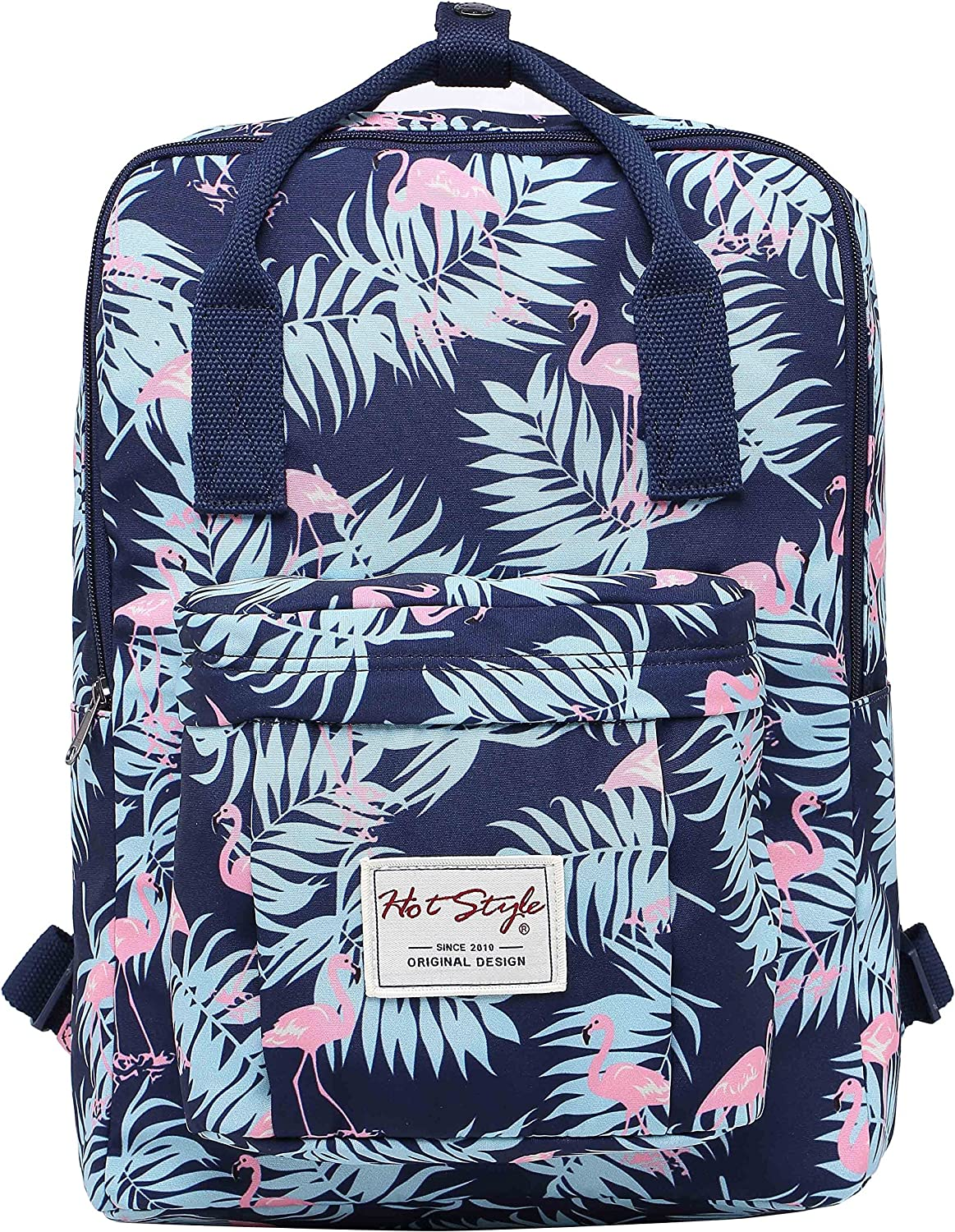 Bestie 14  College Bookbag Backpack Cute for Women, Flamingos Navy