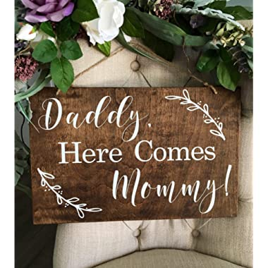 Ruskin352 Daddy Here Comes Mommy Ring Bearer Sign Wedding Decorations
