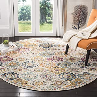 Safavieh MAD611B-5R Bohemian Chic Vintage Distressed Area Rug, 5' Round, Cream/Multi