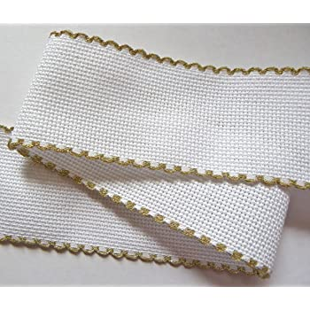 Zweigart 1 Metre Ivory//Cream Aida Band 10cm//4 Inch With a Scalloped Edging