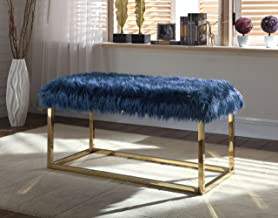 Iconic Home Marilyn Bench Ottoman Faux Fur Brass Finished Stainless Steel Metal Frame, Modern Contemporary, Navy
