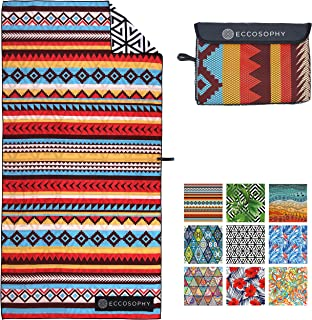 ECCOSOPHY Microfiber Beach Towel - Quick Dry Pool Towels 71x37 inches Oversized Travel Towel - Lightweight Compact Beach Accessories for Women - Large Sand Free Micro Fiber Beach Towels