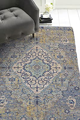 Morris Blue/Yellow Gramercy 7'6 x 9'6 Distressed Moroccan Area Rug