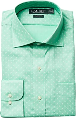 Classic Fit Non Iron Poplin Mini Paisley Print Spread Collar Dress Shirt