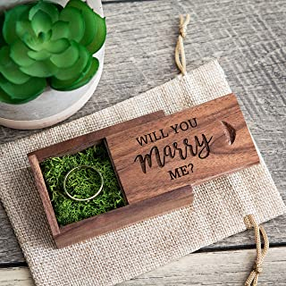 Will you marry me? Engagement Proposal Wood Ring Box with moss filling