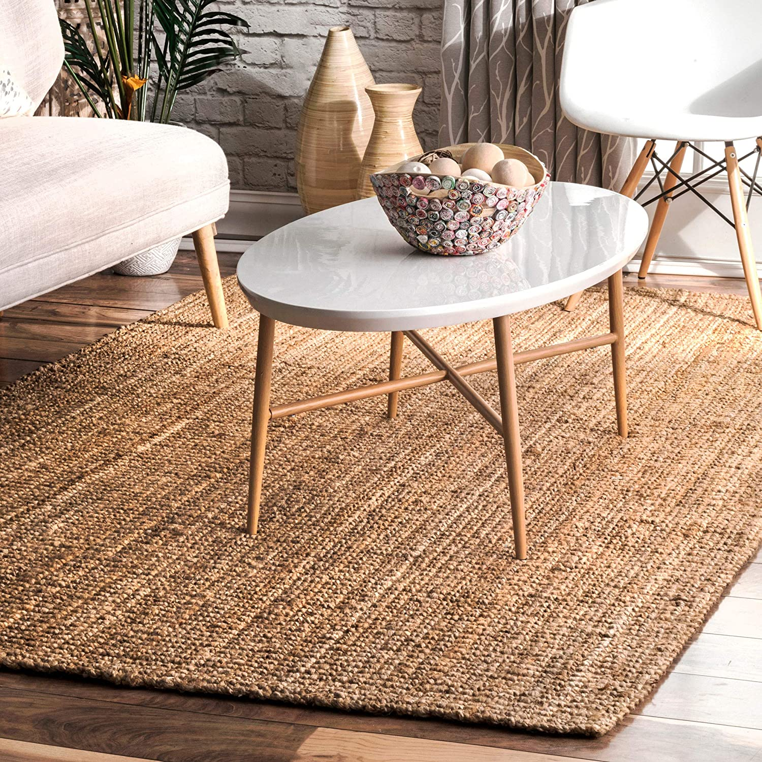 NuLOOM Handwoven Solid Ashli Solid Jute Runner Rug, 2' 6  x 8', Natural