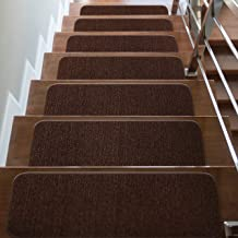 CAMILSON Stair Treads Runner Mats - Non Slip Indoor Outdoor Carpet - Pet Dog Stair Pads Step Covers (Set of 7, Solid Brown)