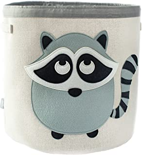 "Large Collapsible Canvas Storage Bin for Kids, Cute Animal Theme Woven Basket for Toys, Baby Items, Children's Clothes & More : Durable Fabric, 15"" x 11"", Grey with Raccoon Applique"
