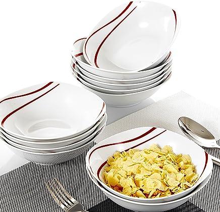 Preisvergleich für MALACASA, Serie Felisa, 12 teilig Müslischale Set Porzellan Dessertschale Schüsseln 17x17x5cm