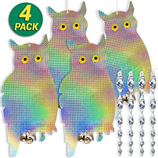 HOMESCAPE CREATIONS Owl Decoy Bird Repellent Control Scare Device - Hanging Holographic Reflective Scarecrow Woodpecker Deterrent with 4 Spiral Rods & 4 Bonus Suction Cups / 4 Pack Combo