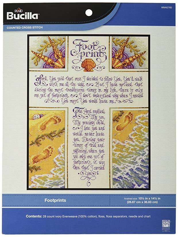 Bucilla Counted Cross Stitch Kit, 10.5 by 14.25-Inch, 42760 Footprints