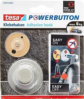 tesa Powerbutton Classic Haak - Stijlvolle zelfklevende haak, perfect voor tegels - Draagkracht tot 6 kg - Geborsteld roes...