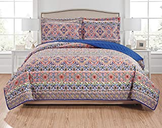 RT Designers Collection Giselle 3-Piece Reversible Quilt Set-King, Orange/Royal Blue/Green/Purple/Navy/White/Brown