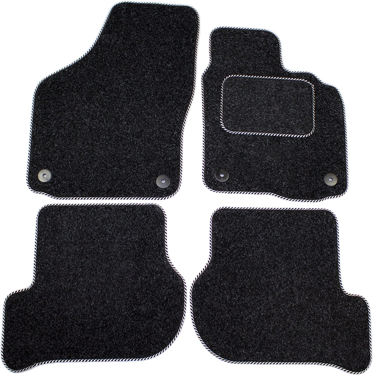 Cosmos V1014PRAN12SH Premium Carpet Anthracite Tailored Floor Mat with Silver Binding with Superior Heelpad