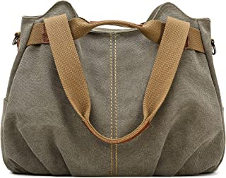 72341f221 Z-joyee Women's Ladies Casual Vintage Hobo Canvas Daily Purse Top Handle Shoulder  Tote Shopper